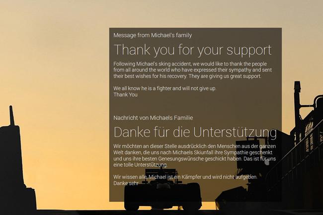 Mensaje Familia, Michael Schumacher - 2 de Enero 2014 - WEB