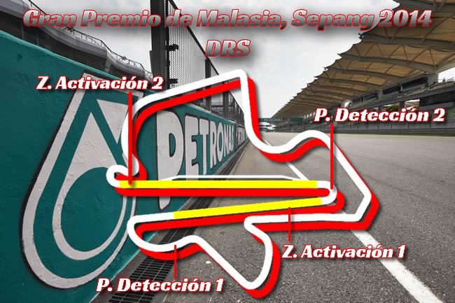 Gran Premio de Malasia - Sepang 2014 - Zonas DRS