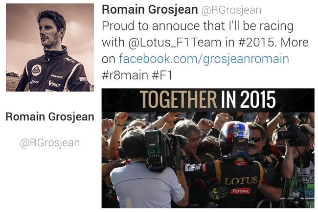 Mensaje Romain Grosjean - Twitter - Anuncio Renovación