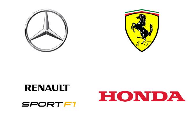 4 Fabricantes - Motores - 2015 - F1 - Renault - Ferrari - Mercedes - Honda