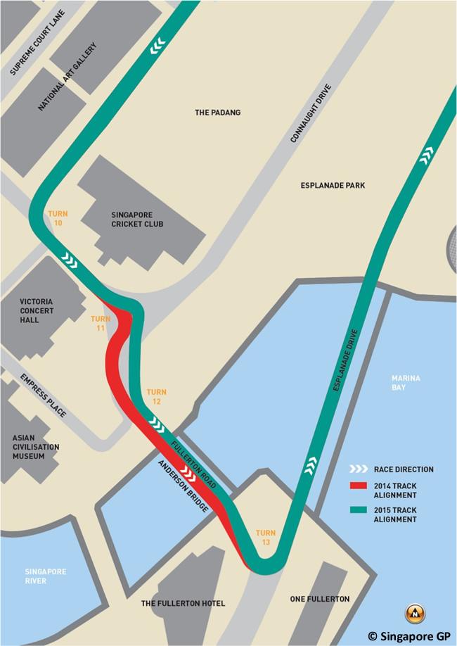 Modificación Trazado Circuito Urbano Singapur 2015