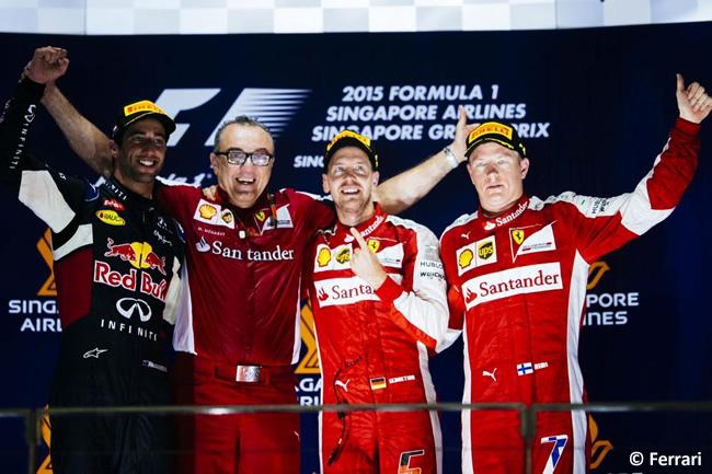 Podio Gran Premio de Singapur 2015 - Sebastian Vettel, Daniel Ricciardo, Kimi Raikkonen