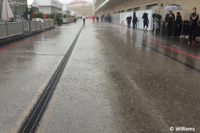 Williams GP EE. UU. Lluvia paddock