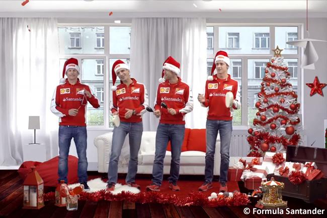 kimi Raikkonen - Marc Gené - Sebastian Vettel - Esteban Gutiérrez - Felicitación Navidad Formula Santander 2015