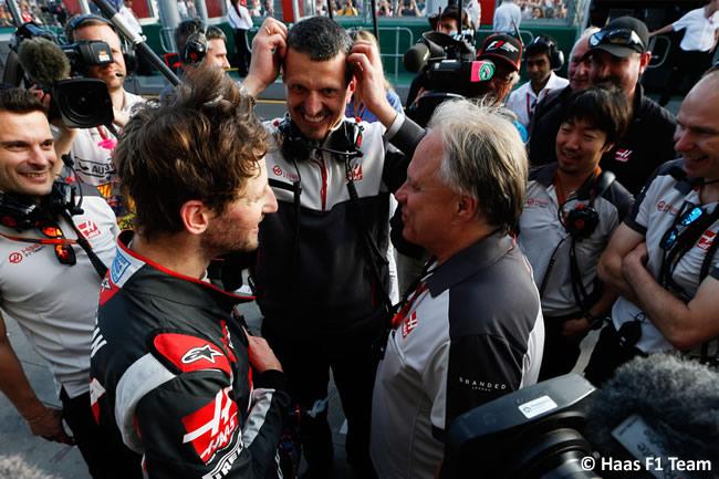 Romain Grosjean - Gene Haas - Gunther Steiner - Haas F1 Team - GP Australia 2016