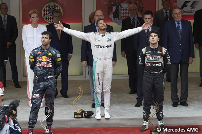 Podio GP Mónaco 2016 - Lewis Hamilton - Daniel Ricciardo - Sergio Pérez