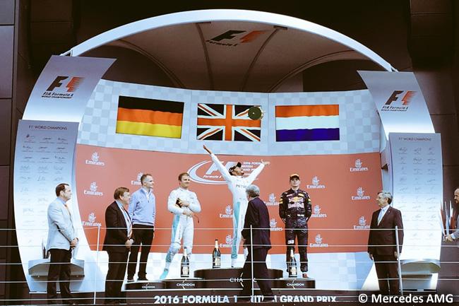 Podio Gran Premio de Gran Bretaña 201 - Lewis Hamilton - Nico Rosberg - Max Verstappen - Mercedes AMG