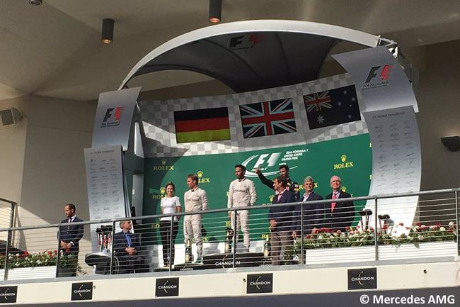 Podio Lewis Hamilton - Nico Rosberg - Daniel Ricciardo - GP EE. UU. 2016