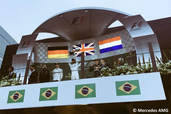 Podio GP Brasil 2016 - Lewis Hamilton - Nico Rosberg - Max Verstappen