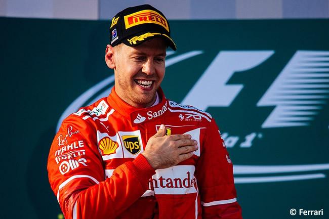 Sebastian Vettel - Scuderia - Ferrari - Victoria - Podio - Australia 2017 - Melbourne - Carrera