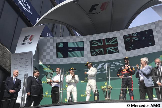Podio GP Canadá 2017 - Lewis Hamilton - Valtteri Bottas - Daniel Ricciardo