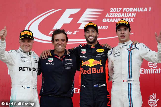 Victoria Daniel Ricciardo - Podio Valtteri Bottas - Lance Stroll - GP Azerbaiyán 2017