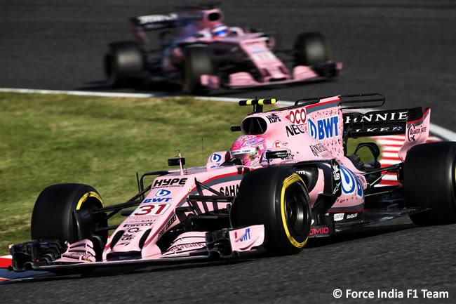 Esteban Ocon - Sergio Pérez - Force India- Carrera- GP Japón 2017