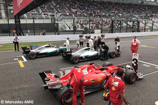 Lewis Hamilton - Valtteri Bottas - Sebastian Vettel - Mercedes AMG - Calificación GP Japón 2017