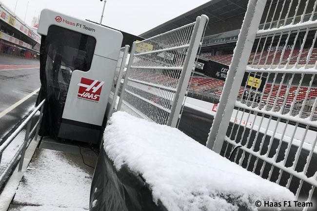Test Barcelona 1 - Día 3 - Haas F1- Nieve
