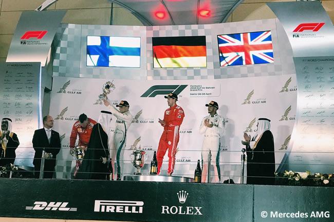 Sebastian Vettel - Valtteri Bottas - Lewis Hamilton - Mercedes - Podio - GP Bahréin - Carrera - 2018