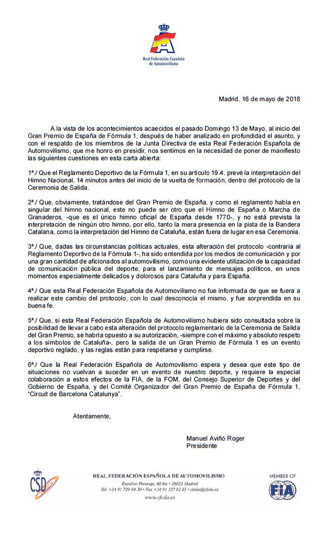 Carta Abierta Real Federación Española de Automovilismo