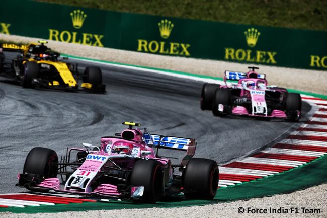 Esteban Ocon - Sergio Pérez - Force India - Carrera GP Austria 2018