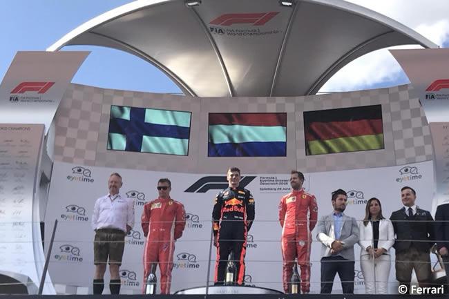 Podio Kimi Raikkonen - Sebastian Vettel - Scuderia Ferrari - Carrera GP Austria 2018