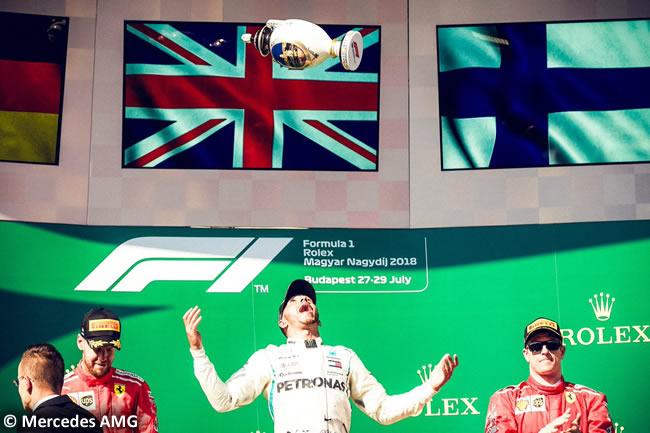 Lewis Hamilton - Mercedes AMG - Podio - Sebastian Vettel - Kimi Raikkonen - Carrera GP Hungría 2018